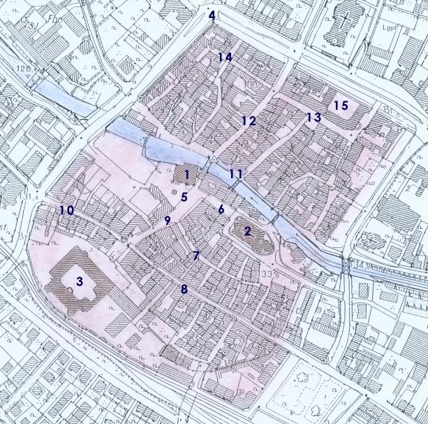 Katasterplan der Altstadt:      Rathaus, 2. Martinskirche, 3. Schloss, 4. Lauerturm, 5. Marktplatz, 6. Kirchenplatz, 7. Entengasse, 8. Leopoldstraße, 9. Marktstraße, 10. Badener-Tor-Straße, 11. Albstraße, 12. Kronenstraße, 13. Seminarstraße, 14. Lauergasse, 15. Finanzamt